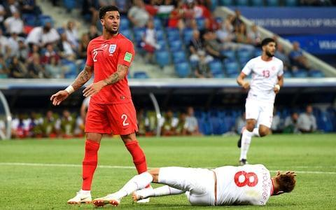 Player ratings: who performed and who didn't? England warned to expect tough approach from Panama  England vs Panama, World Cup 2018: When and where in Russia is the Group G match, what time does it start and what TV channel is it on?  Harry Kane said he might well score three like Cristiano Ronaldo. People tittered. Instead it was just the two for the England captain as he struck the goals to gain England a precious victory in their opening Group G fixture against an obdurate, organised and occasionally cynical Tunisia. It mattered in terms of perception as well as points. These were Kane's first tournament goals and he, and England, are up and running. What a contribution from the captain. At times England wrestled with familiar failings. At times, Tunisia just wrestled and not least when it came to dealing with Kane who was dragged to the turf on at least two occasions inside the penalty area. The first probably was rightly not given, as John Stones already appeared to have committed a foul, but the second appeared a blatant penalty. Where was the video assistant referee (VAR)? After being overwhelmed at set-pieces early on the Tunisians resorted to grapple tactics which seemed to have hauled England down into a usual sense of stifling frustration especially in an increasingly drifting second-half. The Tunisians swarmed around England like the midges and mosquitoes that plagued this stadium on the banks of the River Volga and so irritated the players. Tunisia 1 - 2 England (Harry Kane, 90 + 1 min) That was until injury-time when Harry Maguire, who was also being regularly man-handled, finally found some space to meet a corner and flick the ball towards the back-post where Kane had drifted free and headed home. Except it was not as simple as that. The forward could easily have sent the chance over the bar but he twisted his body, strained his neck and whipped it into the net in the tight space between goalkeeper and goal-frame. In fact both of Kane's goals came fr