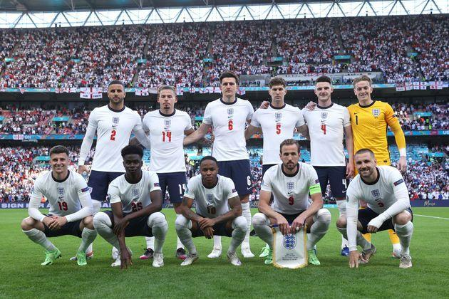 Players of England pose for a team photograph prior to the UEFA Euro 2020 Championship semi-final (Photo: Eddie Keogh - The FA via Getty Images)