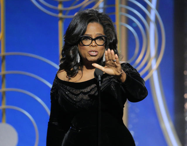Oprah Winfrey at the 75th Golden Globe Awards. In her acceptance speech for the Cecil B. DeMille Award, she told the story of activists Recy Taylor and Rosa Parks. (Photo: Paul Drinkwater/NBC via AP)