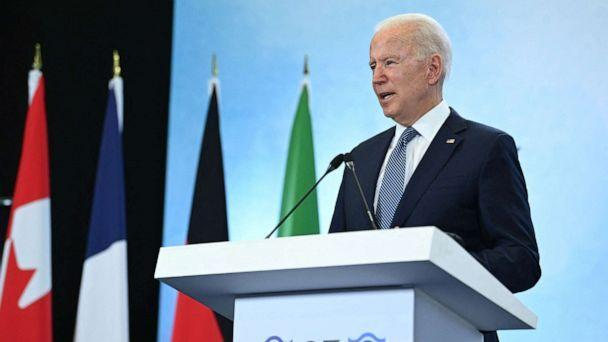 PHOTO: President Joe Biden takes part in a press conference on the final day of the G7 summit at Cornwall Airport Newquay, Cornwall, June 13, 2021. (Brendan Smialowski/AFP via Getty Images)