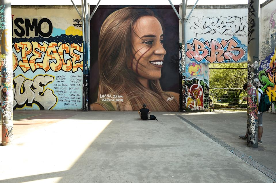 The mural dedicated to Luana D'orazio, the young 22-year-old girl who died on May 3rd following an accident in the Montemurlo textile factory, in the province of Prato. The work was created by street artist Jorit near the former Cisa-Snia Viscosa factory. Rome (Italy) May 9th, 2021 (Photo by Marilla Sicilia/Archivio Marilla Sicilia/Mondadori Portfolio via Getty Images)