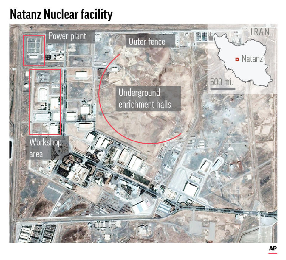 Natanz, in Iran's central Isfahan province, hosts the country's main uranium enrichment facility.