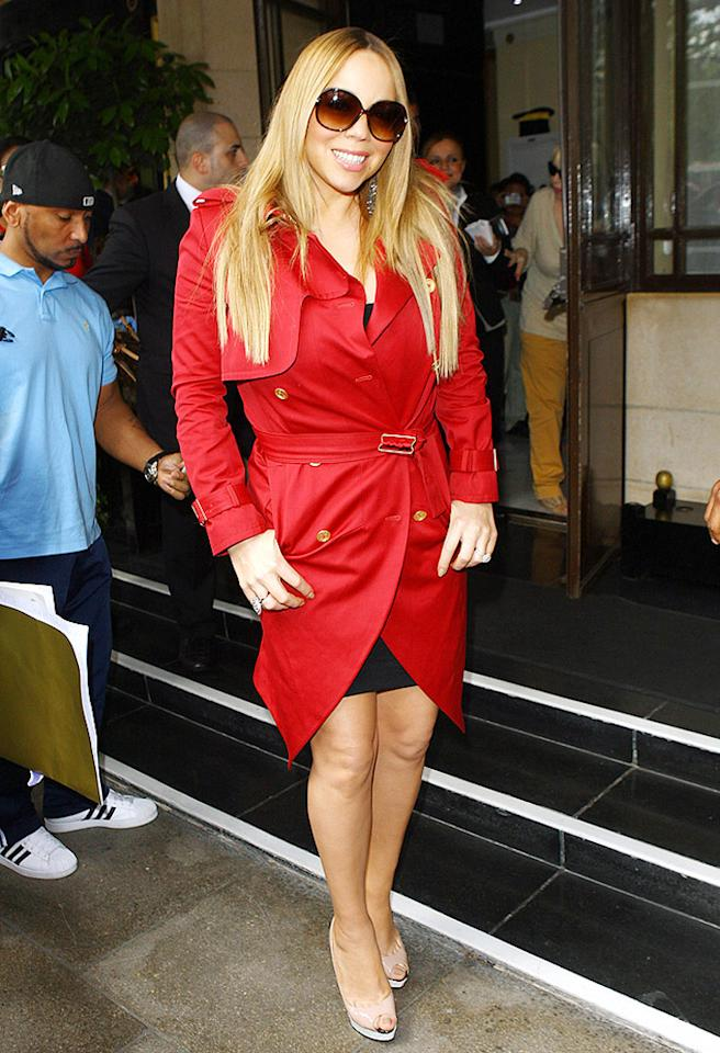 LONDON, UNITED KINGDOM - JUNE 25: Mariah Carey seen arriving at the Dorchester Hotel at The Dorchester on June 25, 2012 in London, England. (Photo by Neil Mockford/Getty Images)