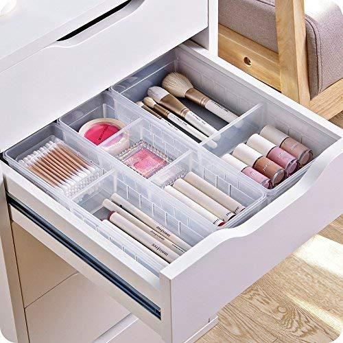 KisSealed Desk Drawer Organizer Tray with Adjustable Dividers