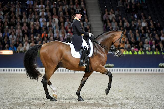 Equestrian - Sweden International Horse Show - FEI Grand Prix Freestyle to Music event - Friends Arena, Stockholm, Sweden - December 3, 2017 - Isabell Werth of Germany rides her horse Emilio 107. TT News Agency/Jessica Gow via REUTERS ATTENTION EDITORS - THIS IMAGE WAS PROVIDED BY A THIRD PARTY. SWEDEN OUT. NO COMMERCIAL OR EDITORIAL SALES IN SWEDEN