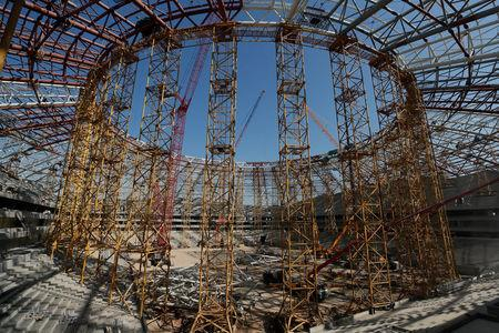 An interior view of Samara Arena stadium under construction is seen in Samara, Russia August 23, 2017. REUTERS/Maxim Shemetov