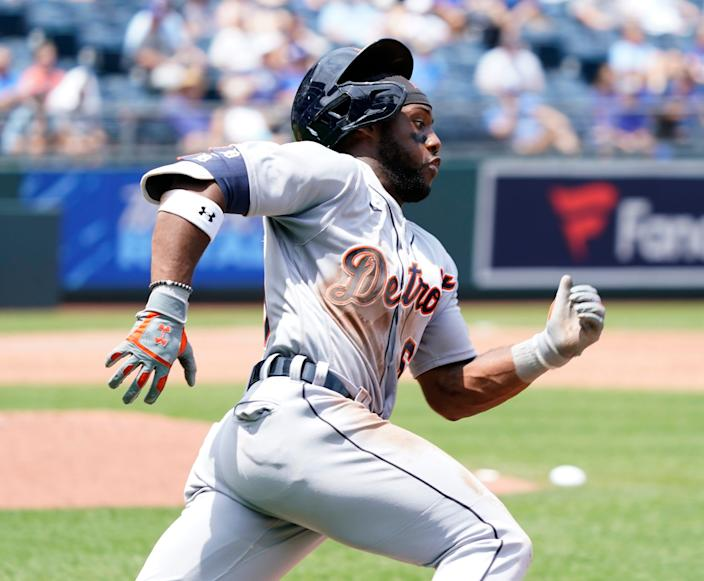 Tigers center fielder Akil Baddoo rounds first and heads for second for a double in the third inning on Wednesday, June 16, 2021, in Kansas City, Missouri.