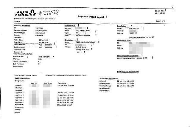 Documents released through Adam Whittington's lawyers reveal almost $70,000 was paid by Nine to his agency in January.