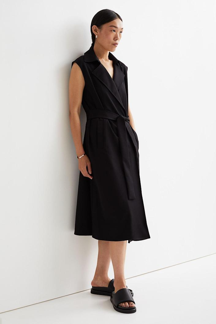 <p>This <span>H&amp;M Knee-Length Jacket Dress</span> ($60) also doubles as outerwear, so you can totally layer it over a long-sleeve top and jeans. If you're feeling brave on a warmer day though, style it on its own with loafers.</p>