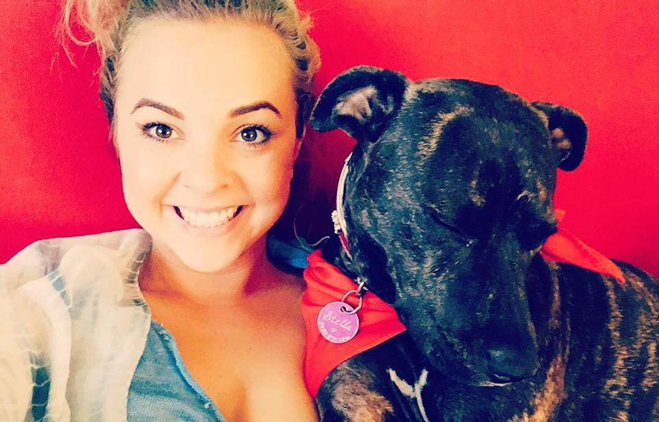 Angie with her pup while filming Gogglebox back in 2015. Photo: Instagram/angiekent_.