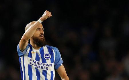 Soccer Football - Premier League - Brighton & Hove Albion vs Tottenham Hotspur - The American Express Community Stadium, Brighton, Britain - April 17, 2018 Brighton's Bruno Saltor salutes their fans after the match Action Images via Reuters/Matthew Childs