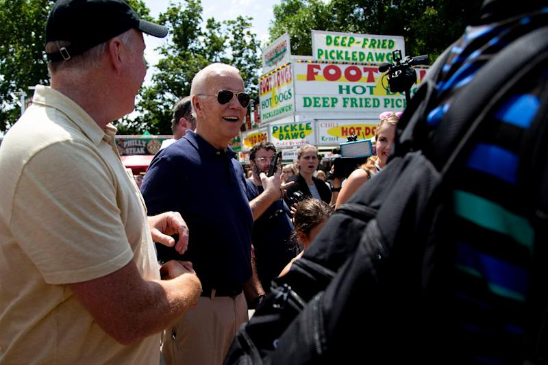 Former Vice President Joe Biden at the Iowa State Fair on Aug. 8, 2019, in Des Moines.