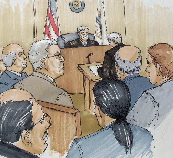 In this courtroom sketch, Joel Brodsky, left, attorney for Drew Peterson, second from left, look on as Will County State's Attorney James Glasgow addresses Will County Judge Edward Burmila during the first day of jury selection in Peterson's murder trial, Monday, July 23, 2012, in Joliet, Ill. Peterson, 58, is charged with killing his third wife, Kathleen Savio, in 2004. Her body was found in a dry bathtub in her home, her hair soaked with blood. The ex-Bolingbrook police sergeant is also a suspect in the 2007 disappearance of his fourth wife, Stacy Peterson. (AP Photo/Tom Gianni)