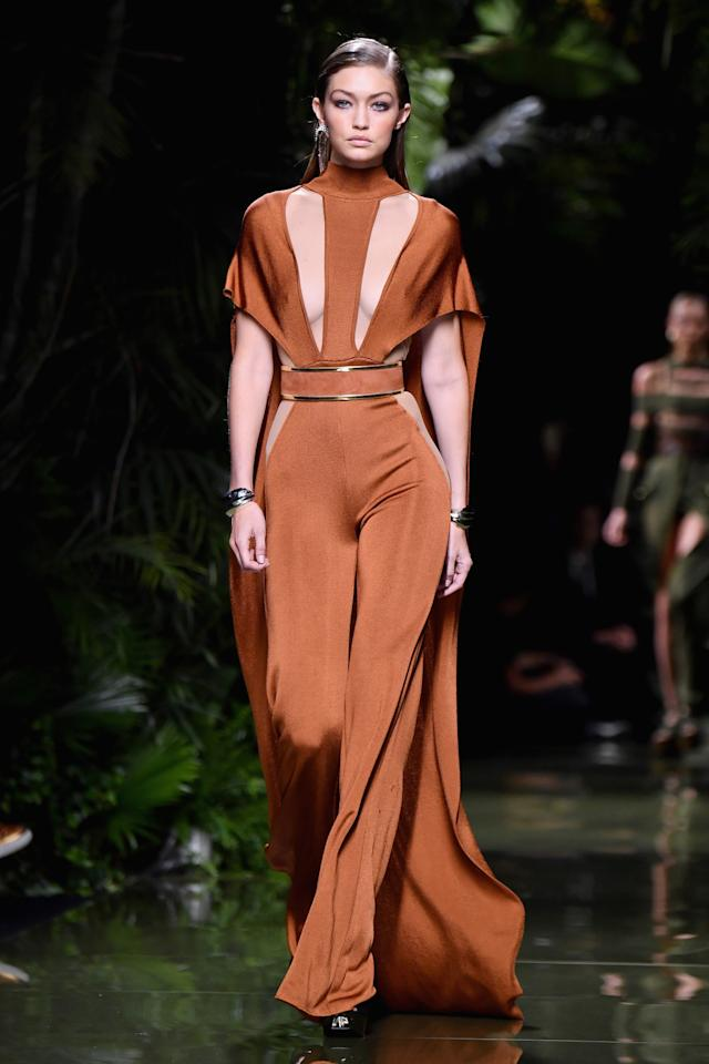 <p>Still firmly in the Balmain army, Gigi closed Olivier Rousteing's SS17 show. <i>[Photo: Getty]</i></p>