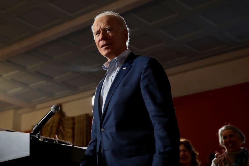 Democratic U.S. presidential candidate and former U.S. Vice President Joe Biden makes his way to the microphone at the start of a campaign event in Georgetown