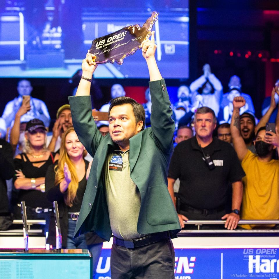 Carlo Biado of Philippines rules the US Open Pool Championship. (Photo: Matchroom Pool)