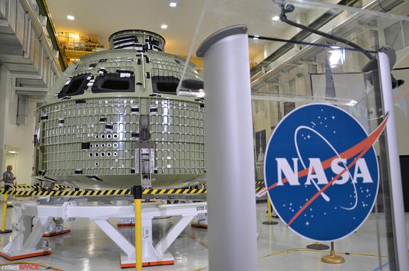 NASA's first space-bound Orion crew capsule on display in Kennedy Space Center's Operations and Checkout (O&C) Building in Florida, July 2, 2012. The spacecraft is set to launch on an unmanned test flight in 2014.
