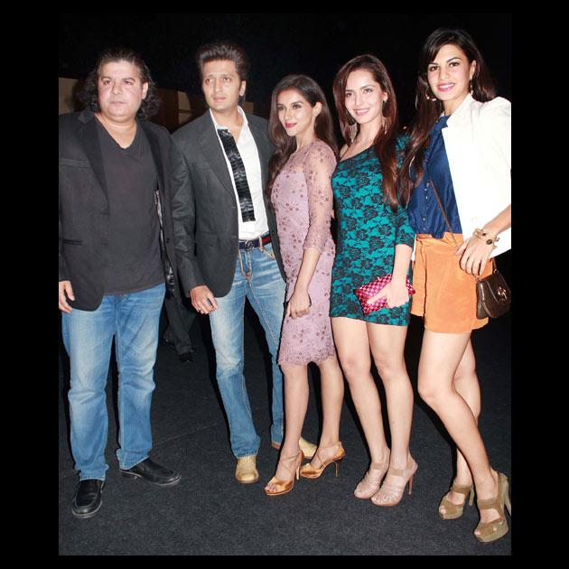Seen in the pictures are actress Asin, Jacqueline Fernandez and Shazahn Padamsee with Sajid Khan and Riteish.