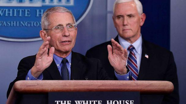 PHOTO: Dr. Anthony Fauci, Director of the National Institute of Allergy and Infectious Diseases, speaks about the coronavirus in the James Brady Briefing Room, March 26, 2020, in Washington. (Alex Brandon/AP)