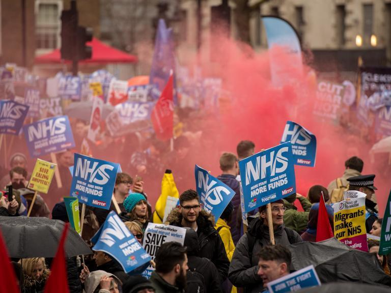 NHS protest: Thousands march on Downing Street last month to demand funding to save health service