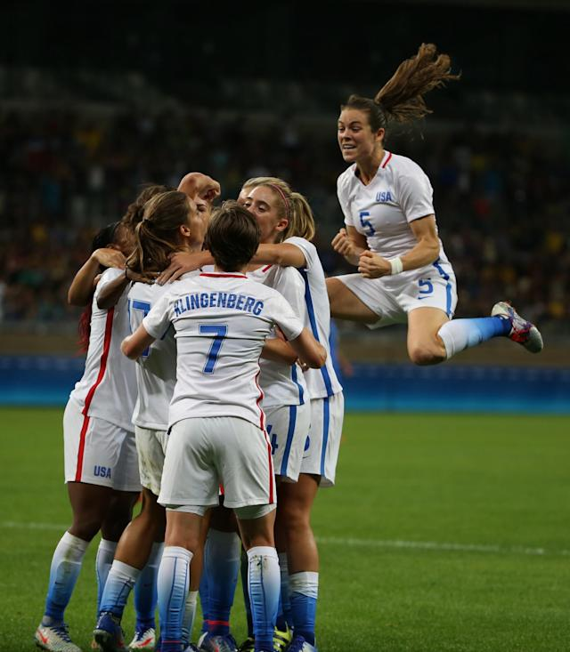 <p>Women's Olympic Football team celebrate a goal during a group G match of the women's Olympic football tournament between United States and France at the Mineirao stadium in Belo Horizonte, Brazil, Saturday, Aug. 6, 2016. (AP Photo/Eugenio Savio) </p>