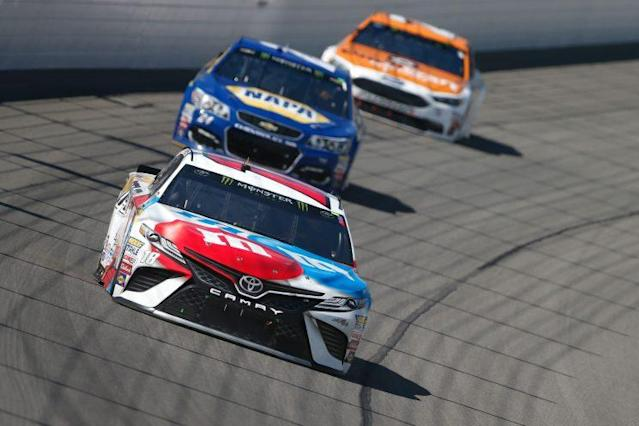 "<a class=""link rapid-noclick-resp"" href=""/nascar/sprint/drivers/947/"" data-ylk=""slk:Kyle Busch"">Kyle Busch</a> moved up a spot to third in the points standings at Michigan. (Getty)"