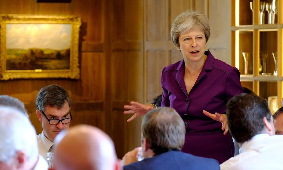 Theresa May speaking during a cabinet meeting at Chequers.