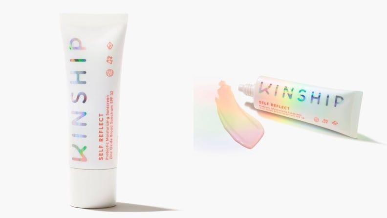 The Kinship Self Reflect Probiotic Moisturizing Sunscreen Zinc Oxide SPF 32 offers sun protection and a beige tint.