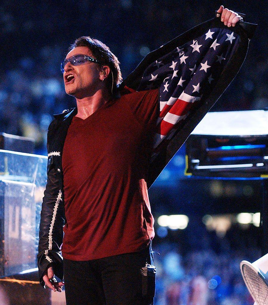 """<p>Bono revealed his jacket had an American flag in its lining during U2's performance. </p><p><a class=""""link rapid-noclick-resp"""" href=""""https://www.youtube.com/watch?v=jiE8v29h6zI&ab_channel=ecraviotto2003"""" rel=""""nofollow noopener"""" target=""""_blank"""" data-ylk=""""slk:WATCH NOW"""">WATCH NOW</a></p>"""