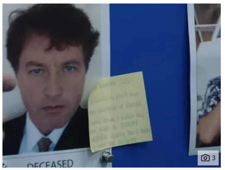 Photograph of post-it note on Tommy Hunter's picture that says Davidson is Hunter's daughter and niece