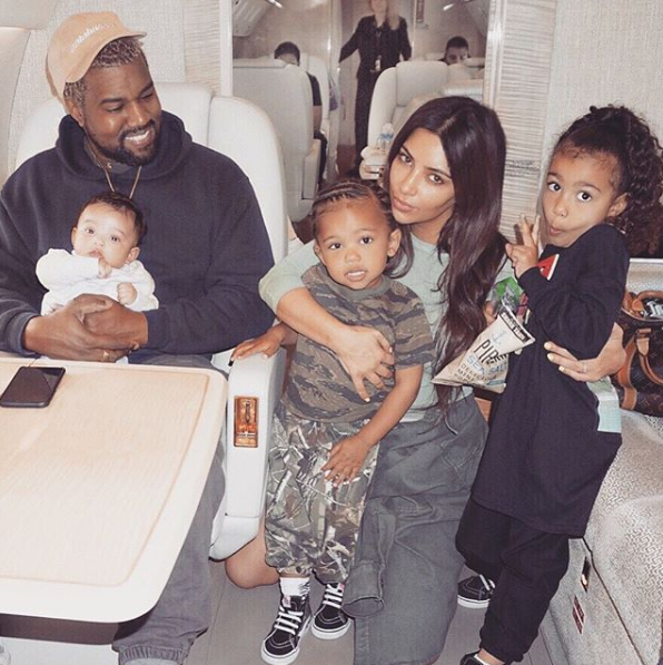 Mum Kim Kardashian has finally got the happy family portrait she's wanted for so long. And of course, it's been taken on a private jet. Source: Instagram/KimKardashian