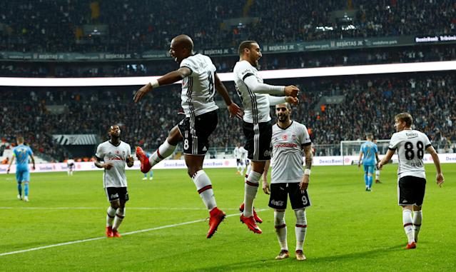 Soccer Football - Super Lig - Besiktas vs Osmanlispor - Vodafone Arena, Istanbul, Turkey - December 17, 2017 Besiktas' Cenk Tosun celebrates scoring their fifth goal with Ryan Babel REUTERS/Murad Sezer