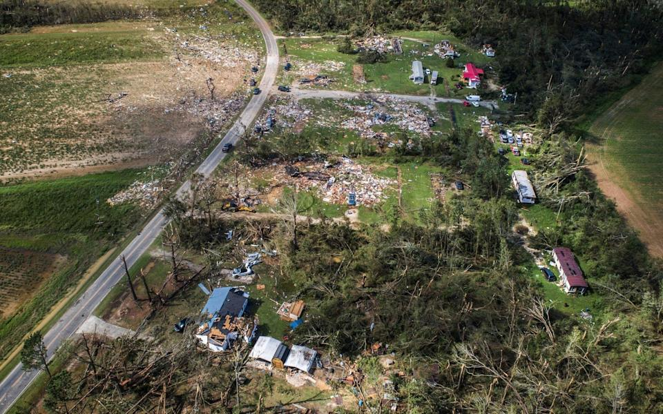 A view from a drone shows the destruction at a mobile home park near Windsor in North Carolina - Julia Wall/The News & Observer