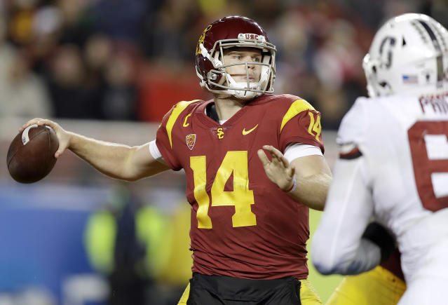 Sam Darnold and USC will take on Ohio State in the Cotton Bowl. (AP Photo/Marcio Jose Sanchez)