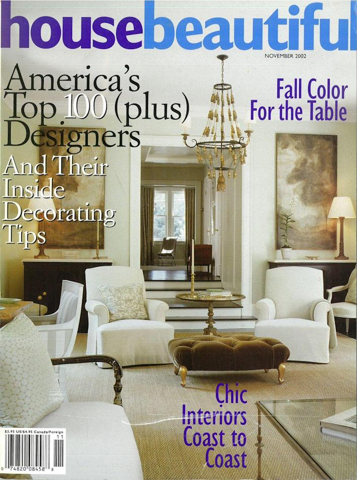 <p>Other than the different logo style (also multi-color), this living room design could definitely pass as one from today with the classic neutrals, beautiful light fixtures, and velvet ottoman.</p>