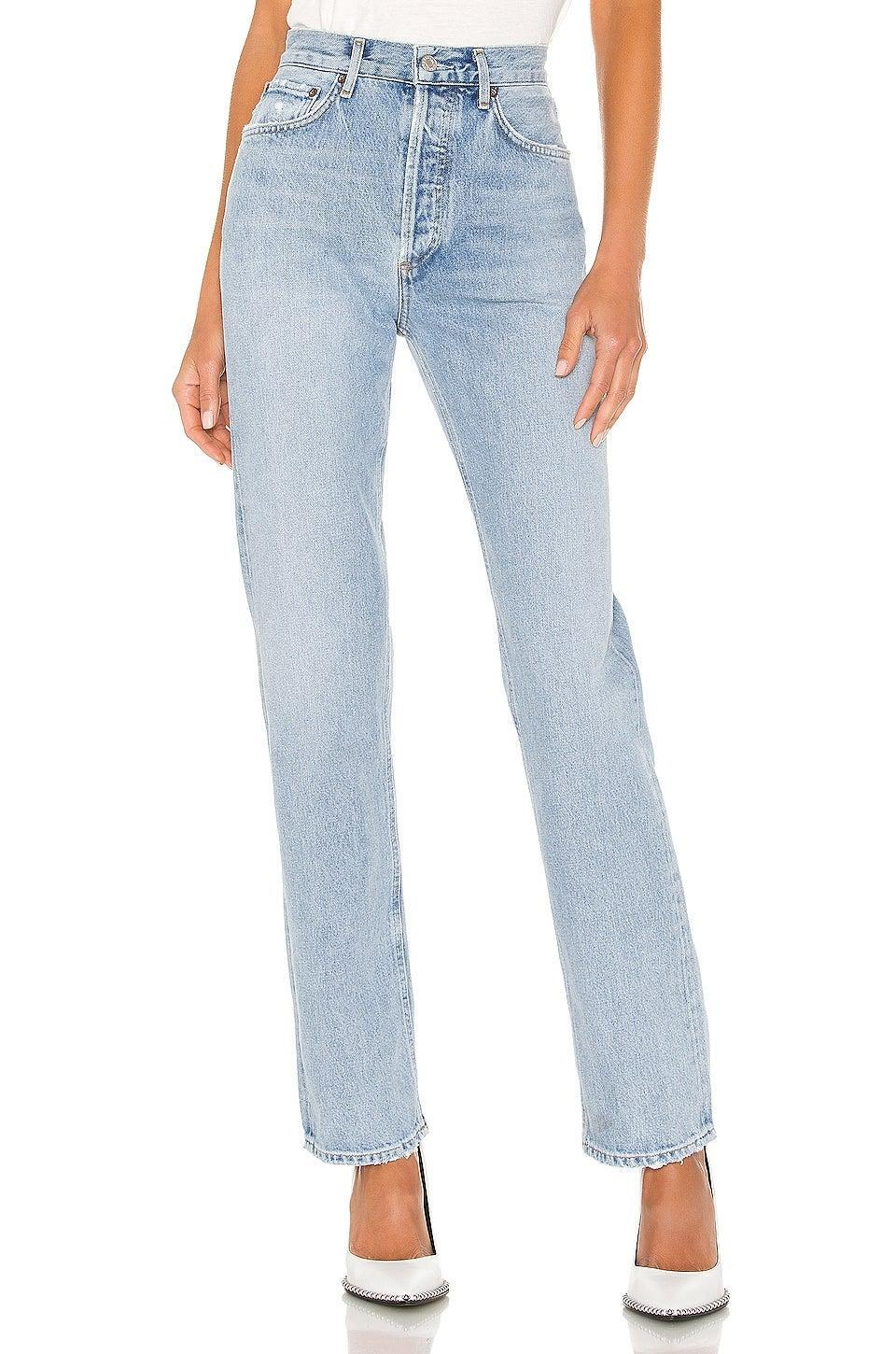 """<h2>AGOLDE Lana Straight Jean</h2><br><em><strong>The Compliment Magnet<br></strong></em><br>AGOLDE is a premium denim label with an undeniable contemporary-cool appeal. This best-selling pair on Revolve is no exception with reviewers raving about the ultra-relaxed fit that offers ample styling opportunities. Because of the looser silhouette, however, many suggest sizing down for a better fit. <br><br><strong>The Hype: </strong>4.5 out of 5 stars; 114 reviews on Revolve.com<br><br><strong>What They're Saying</strong>: """"Super cool relaxed look. Have received countless of compliments from this pair of jeans and have recommended them to my friends. Though pricier than hat if usually pay, I believe these will last me a long time and have a timeless look."""" — Nat, Revolve.com reviewer<br><em><br>Shop <strong><a href=""""https://www.revolve.com/agolde-lana-straight/dp/AGOL-WJ253/"""" rel=""""nofollow noopener"""" target=""""_blank"""" data-ylk=""""slk:Revolve.com"""" class=""""link rapid-noclick-resp"""">Revolve.com</a></strong></em><br><br><strong>Agolde</strong> Lana Straight, $, available at <a href=""""https://go.skimresources.com/?id=30283X879131&url=https%3A%2F%2Fwww.revolve.com%2Fagolde-lana-straight%2Fdp%2FAGOL-WJ253%2F"""" rel=""""nofollow noopener"""" target=""""_blank"""" data-ylk=""""slk:Revolve"""" class=""""link rapid-noclick-resp"""">Revolve</a>"""