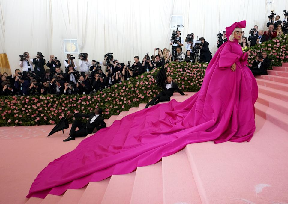 Lady Gaga in a pink overcoat at the Met Gala 2019