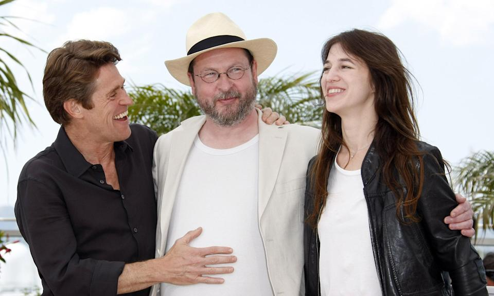 Willem Dafoe, Lars von Trier, and Charlotte Gainsbourg at the 62nd Cannes Film Festival in 2009