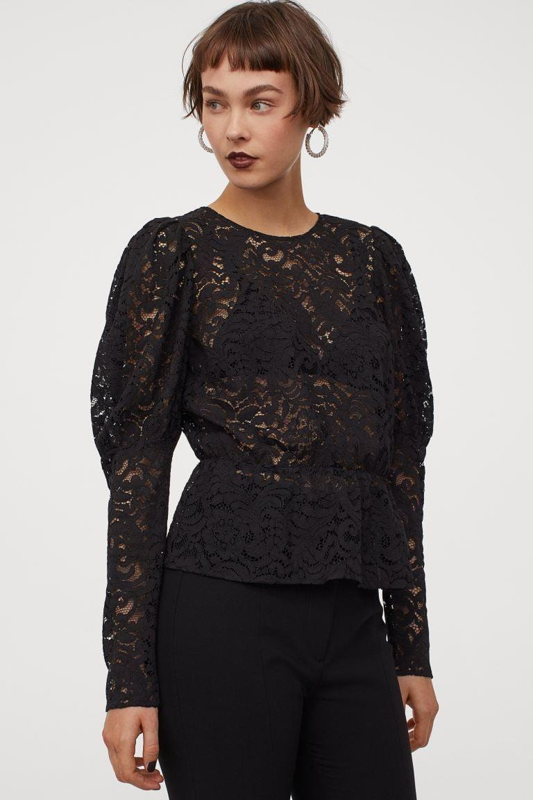 """<p>Another classic Moira Rose look, a <span>Lace Blouse</span> ($30) is a great piece for a <strong><a class=""""link rapid-noclick-resp"""" href=""""https://www.popsugar.com/Schitt%E2%80%99s-Creek"""" rel=""""nofollow noopener"""" target=""""_blank"""" data-ylk=""""slk:Schitt's Creek"""">Schitt's Creek</a></strong> fashionista.</p>"""