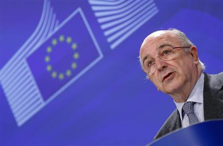 European Union Competition Commissioner Almunia addresses a news conference at the EU Commission headquarters in Brussels