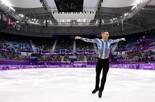 Adam Rippon competing in the 2018 Winter Olympics. (Credit: Jamie Squire/Getty Images)