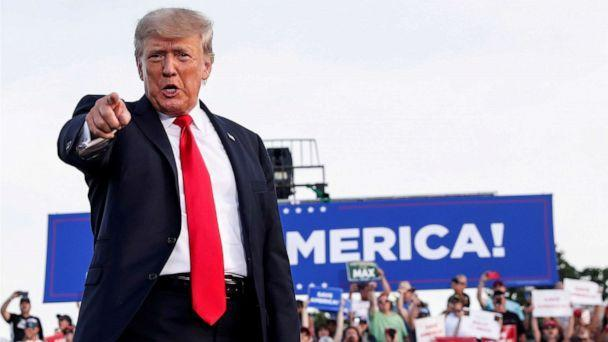 PHOTO: Former U.S. President Donald Trump reacts at his first post-presidency campaign rally at the Lorain County Fairgrounds in Wellington, Ohio, June 26, 2021. (Shannon Stapleton/Reuters, FILE)