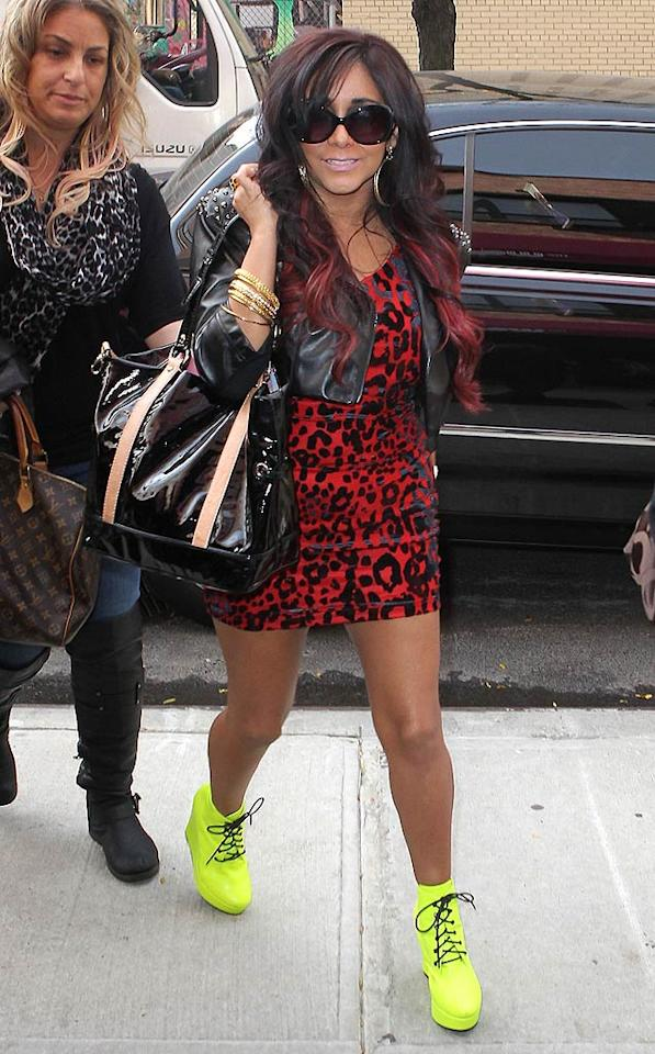 "Tragically-dyed hair extensions? Check. Unflattering mini dress? Check. Revolting neon booties? Check. Snooki looking like a hot mess en route to a taping of ""The Wendy Williams Show"" ... CHECK! (11/14/2011)"
