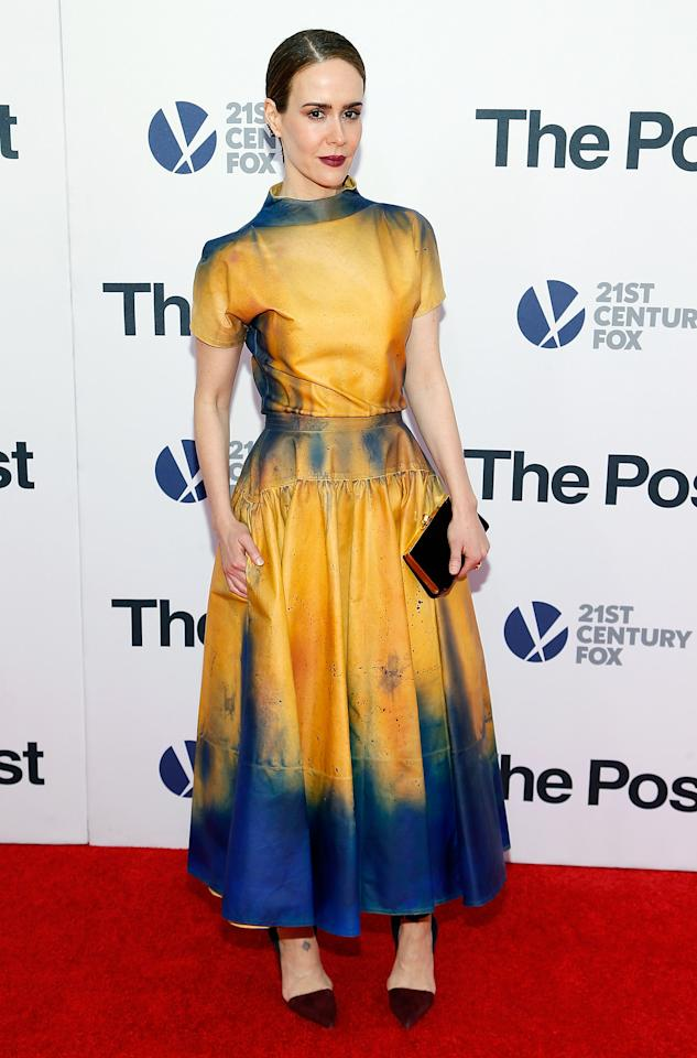 <p>The actress stood out in a yellow-and-blue stained design by Calvin Klein. <i>[Photo: Getty]</i> </p>