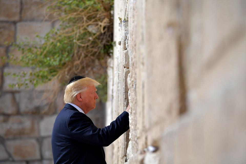 DonaldTrump visits the Western Wall, the holiest site where Jews can pray, in Jerusalem's Old City on May 22, 2017.