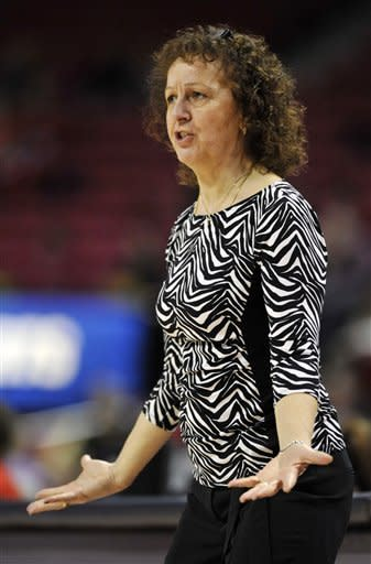 Brown coach Jean Marie Burr reacts to a foul call against her team in the first half of an NCAA college basketball game against Maryland, Friday, Dec. 28, 2012, in College Park, Md. Maryland won 76-36.(AP Photo/Gail Burton)