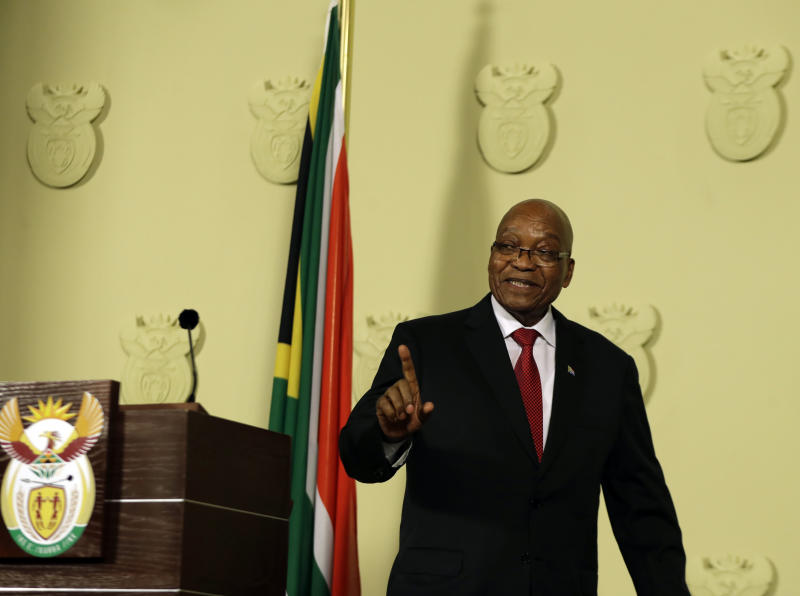 South African President Zuma succumbs to pressure, resigns