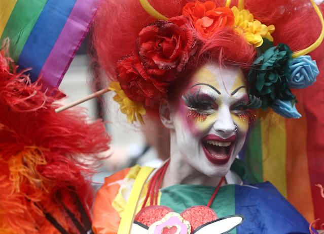 <p>Participants take part in the annual Pride in London Parade, which started in Portland Place and ends in Whitehall, in central London, Britain, July 8, 2017. (Photo: Neil Hall/Reuters) </p>