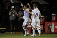 Orlando City forward Nani celebrates after scoring against the Minnesota United during the first half of an MLS soccer match, Thursday, Aug. 6, 2020, in Kissimmee, Fla. (AP Photo/John Raoux)