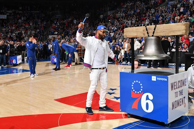 NFL Philadelphia Eagles Player, DeSean Jackson, attends a game between the Sacramento Kings and the Philadelphia 76ers on March 15, 2019 at the Wells Fargo Center in Philadelphia, Pennsylvania. (Photo by Jesse D. Garrabrant/NBAE via Getty Images)